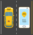 mobile phone with taxi service banner vector image vector image