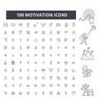 motivation editable line icons 100 set vector image