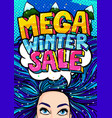 open mouth and mega winter sale message in pop art vector image vector image