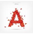 Origami paper birds alphabet Letter a
