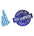 people collage of mosaic map of new hampshire vector image