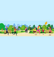 public park people relax sitting wooden bench vector image vector image