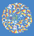 rainbow dream round pattern bright colorful sky vector image