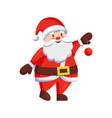 santa claus winter holiday ball in hands christmas vector image
