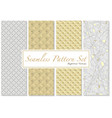 seamless patterns in gold and white colors vector image vector image