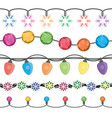 seamless strings of christmas light garland lamps vector image