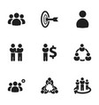 set of 9 editable team icons includes symbols vector image vector image