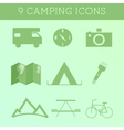 Set of Outdoor Summer camping Icons RV motorhome vector image vector image