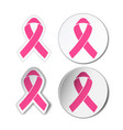 set pink ribbons symbols for breast vector image