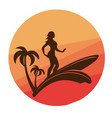 silhouette of surfing young woman with colorful vector image