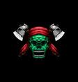 skull headband with axe logo icon vector image vector image