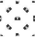 vintage tape recorder pattern seamless black vector image vector image