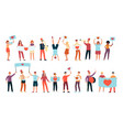 young happy people holding placards and banners vector image vector image