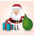 santa claus cartoon bag gift christmas white vector image