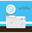 Washing and sink 3d interior Blue background vector image