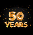 50th anniversary gold greeting card vector image vector image