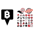 Bitcoin Map Pointer Flat Icon with Bonus vector image