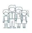 blue contour faceless family group in casual vector image vector image
