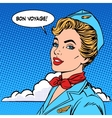 Bon voyage stewardess tourism travel flight vector image vector image