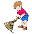 Boy with a broom vector image