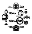 car race icons set simple style vector image vector image