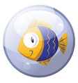 cartoon character of a blue and yellow fish vector image vector image