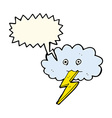 cartoon lightning bolt and cloud with speech vector image vector image