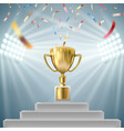 championship trophy surrounded by falling confetti vector image vector image