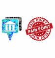 collage bank map pointers with textured pain point vector image vector image