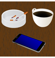 Cup of coffee Ashtray Cigarettes Mobile device vector image vector image