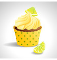 cupcake with lemon vector image vector image