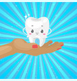 cute healthy white tooth on hand with dental vector image vector image
