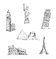Doodle Travel set World famous landmarks vector image vector image