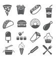 fast food icons set on white background vector image vector image