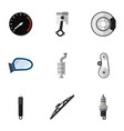 flat icon auto set of silencer spare parts vector image vector image