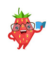 funny strawberry in eyeglasses reading book cute vector image vector image