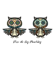 greeting card with sugar skull owls traditional vector image vector image