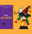 halloween background with happy halloween text vector image vector image