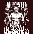 halloween night vintage monochrome poster vector image vector image