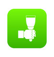 hand hjlding paint brush icon digital green vector image
