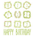 happy birthday card invitation with set vector image