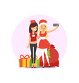 happy smiling young women friends taking selfie vector image vector image