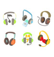 headset icon set cartoon style vector image vector image