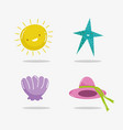 hello summer sun starfish shell and hat vector image