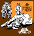 hunters and bear hunters club logo vector image vector image