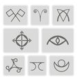 icons with magical symbols of the Elves of Fyn vector image