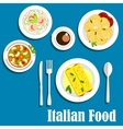 Italian cuisine with pasta and risotto vector image vector image