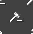 judge hammer icon Seamless pattern on a gray vector image vector image