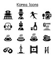 korea icon set vector image