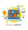 Laptop with eBooks vector image